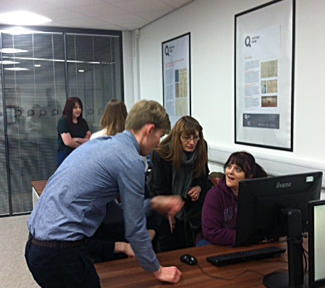 Rob Clegg, Heritage Quay's collections access officer, talking to Whitley students about using archives.