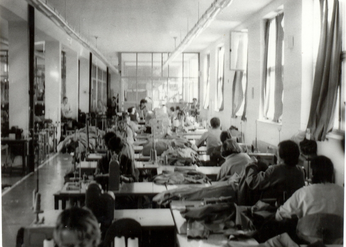 Women political prisoners working on a sewing line producing shirts, Pardubice prison, 1950s